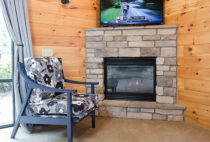 Cottonwood Suite chair and fireplace