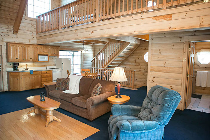 Living Room and Loft in the Blue Jay Cabin in Berlin, OH