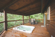 The Evergreen Log Cabin outdoor jacuzzi