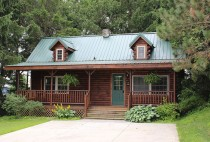Angled view of log cabin