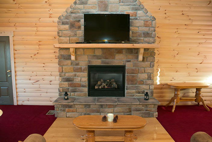 Stone Fireplace in a Stunning Cabin in Amish Country