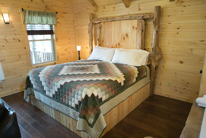 Bed in a Berlin Ohio Cabin Rental