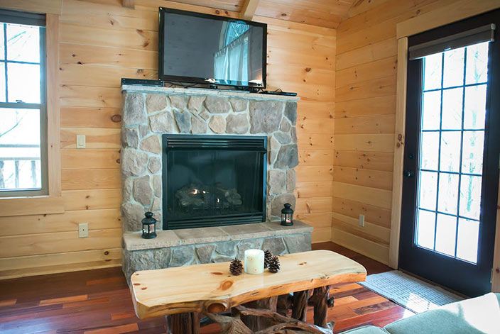 Fireplace in an Amish Country Luxury Tree House Cabin