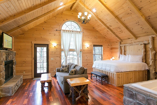Whispering Pines Tree House bed and seating area with fireplace