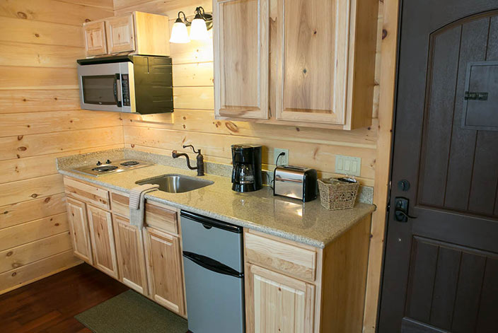 Cabins in Amish Country - Berlin Ohio Tree House Cabin Kitchen