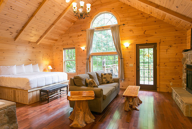 Wild Cherry Tree House bed and seating area