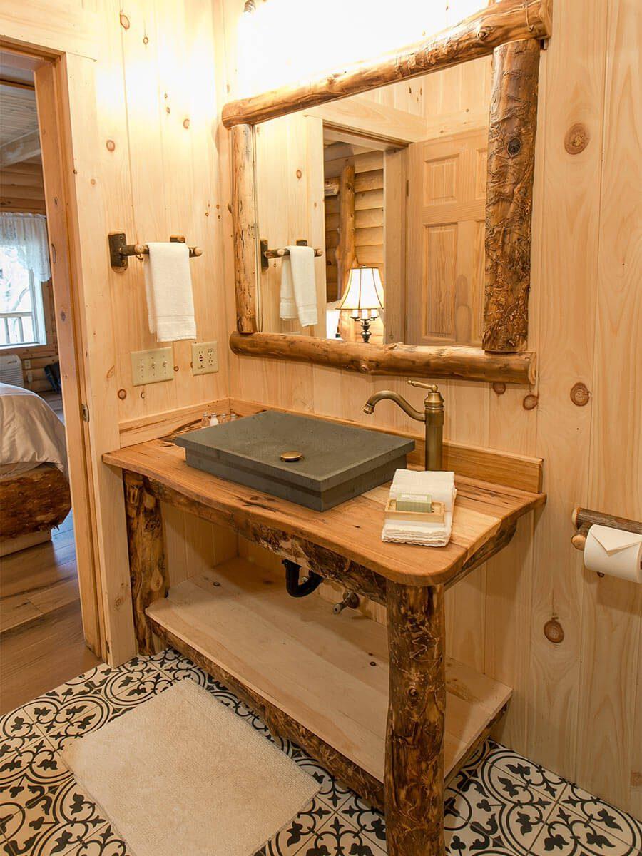 Bathroom vanity with stone sink
