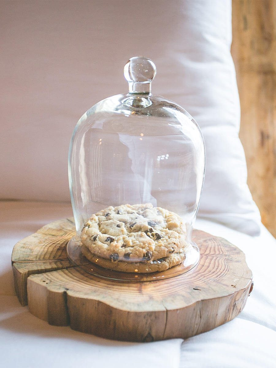 Chocolate Chip Cookies in a glass dome