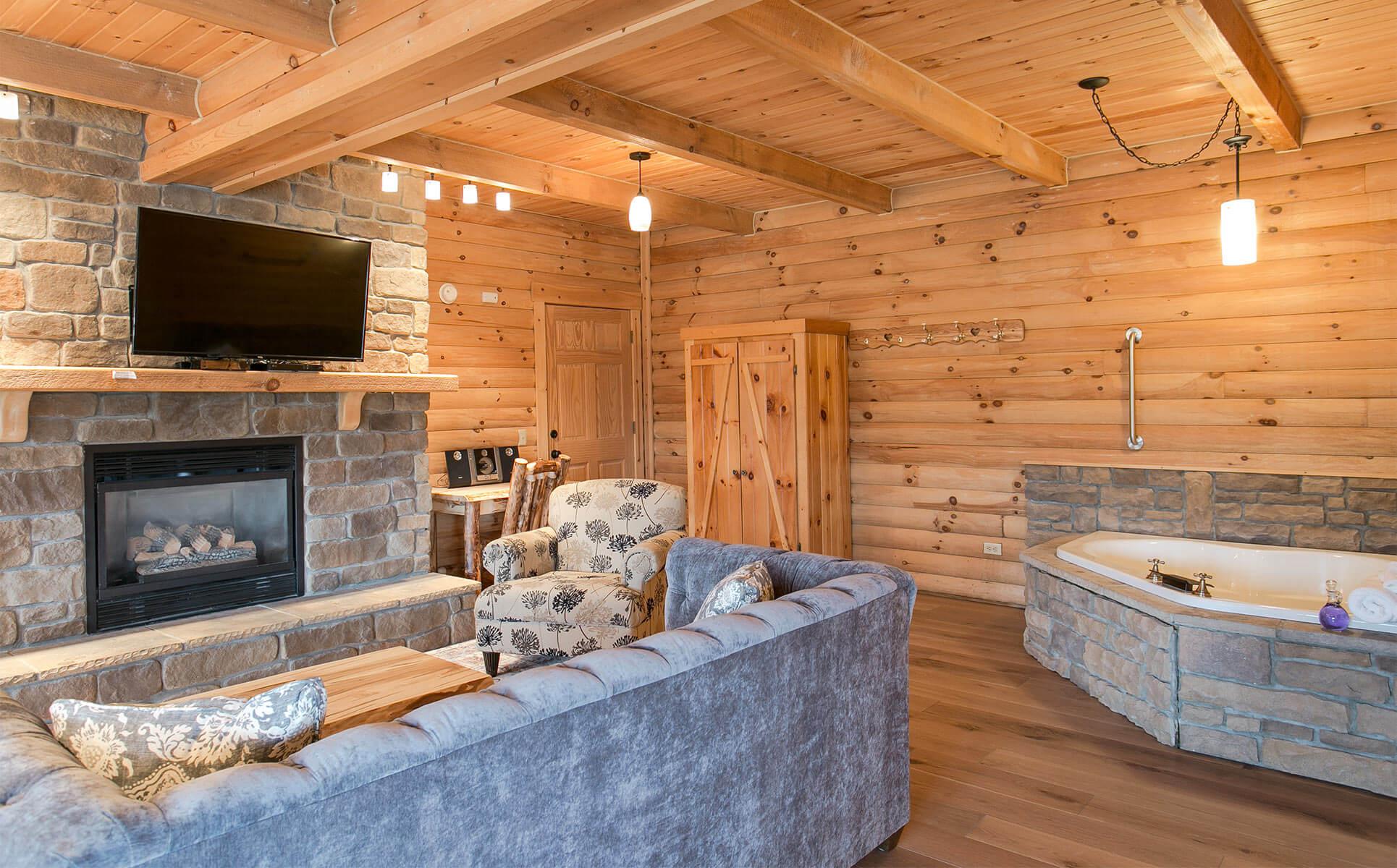 Soakign tub and Living Room