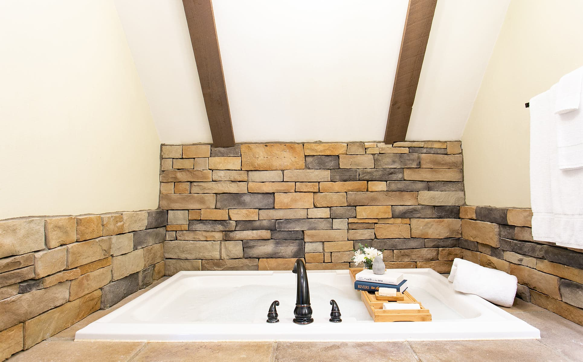 Two-Person Jetted Tub with Stone Surround