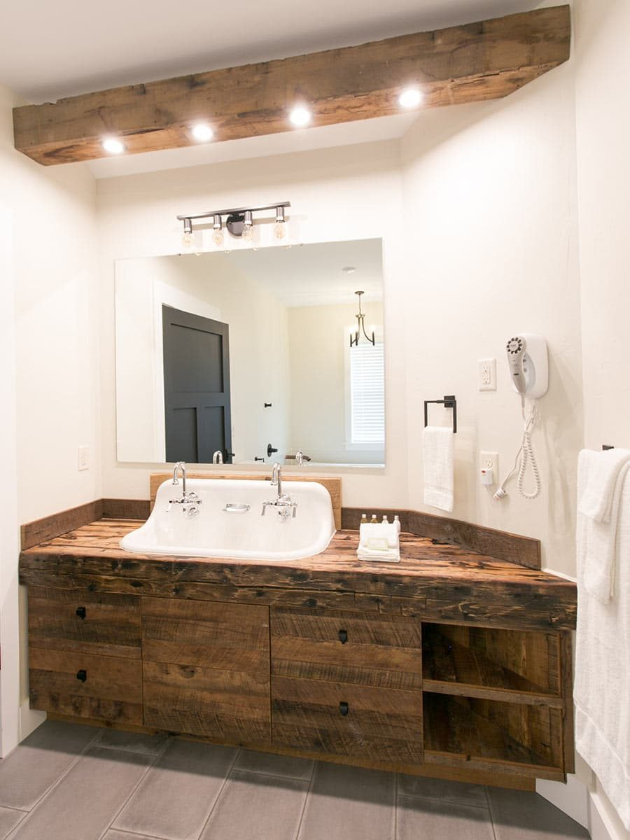 Wood Bathroom Vanity with trough sink