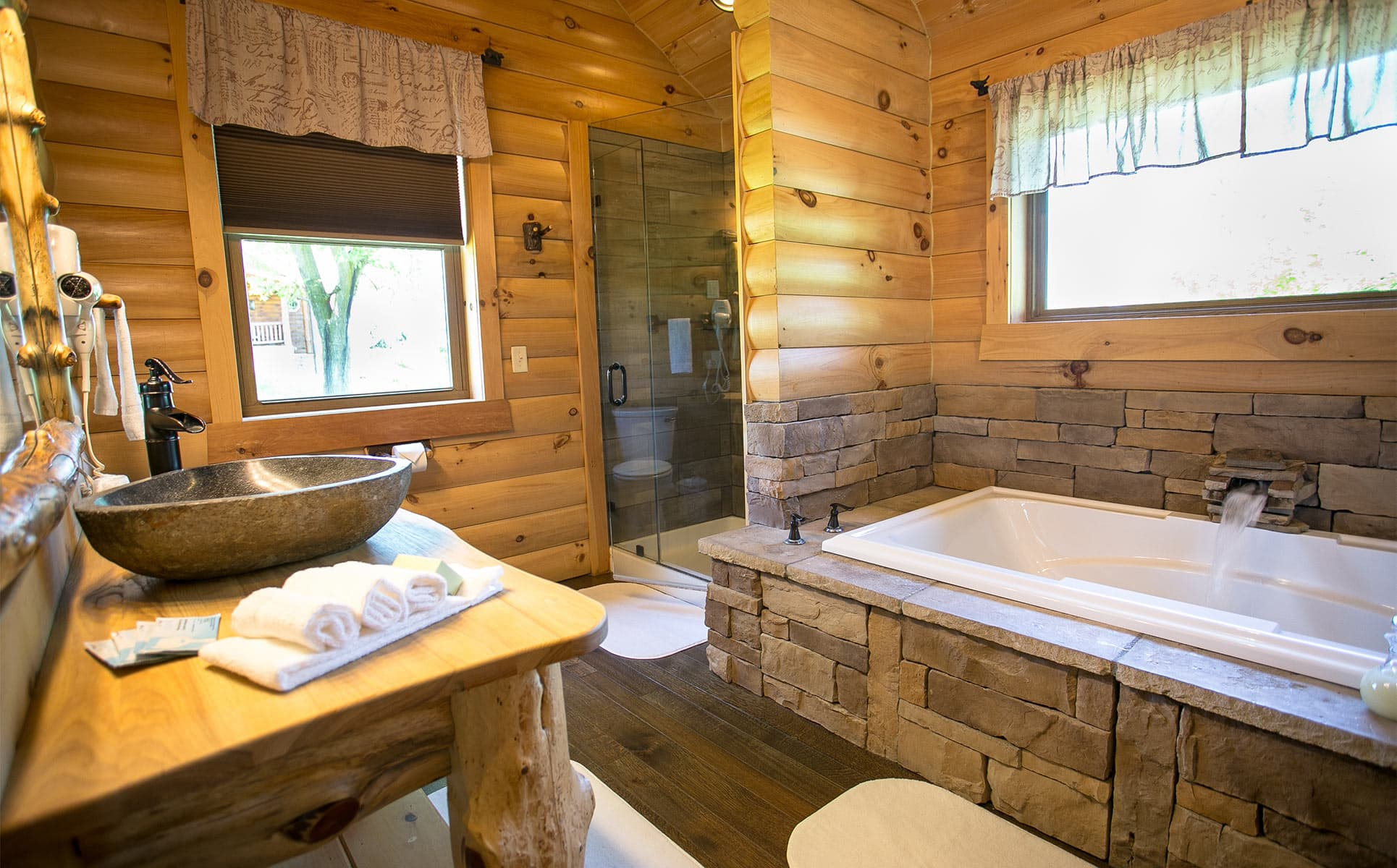 Bathroom with 2-person stone jetted tub