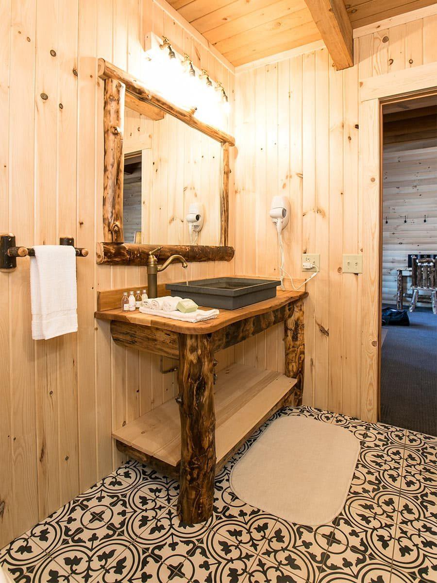 Bathroom with wood vanity