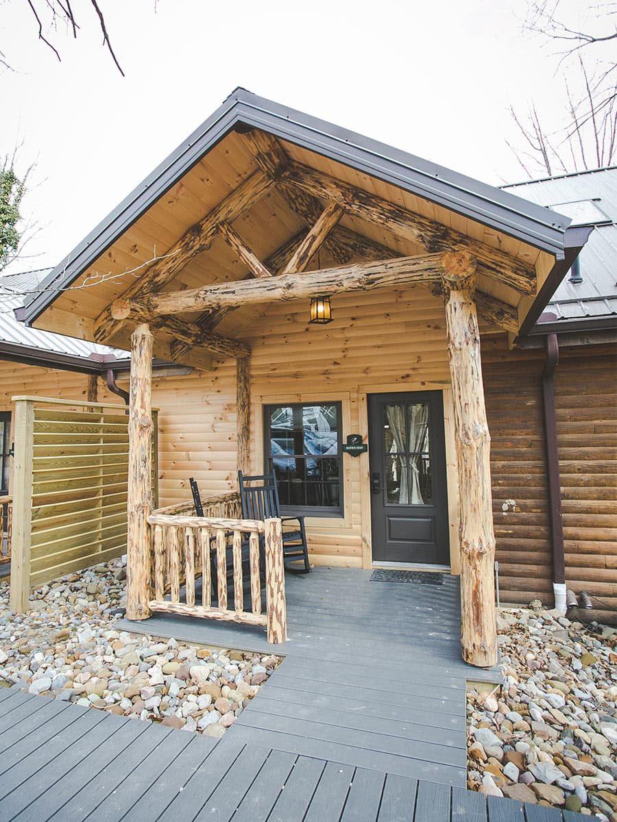 Exterior of Hawk's Next Log Cabin