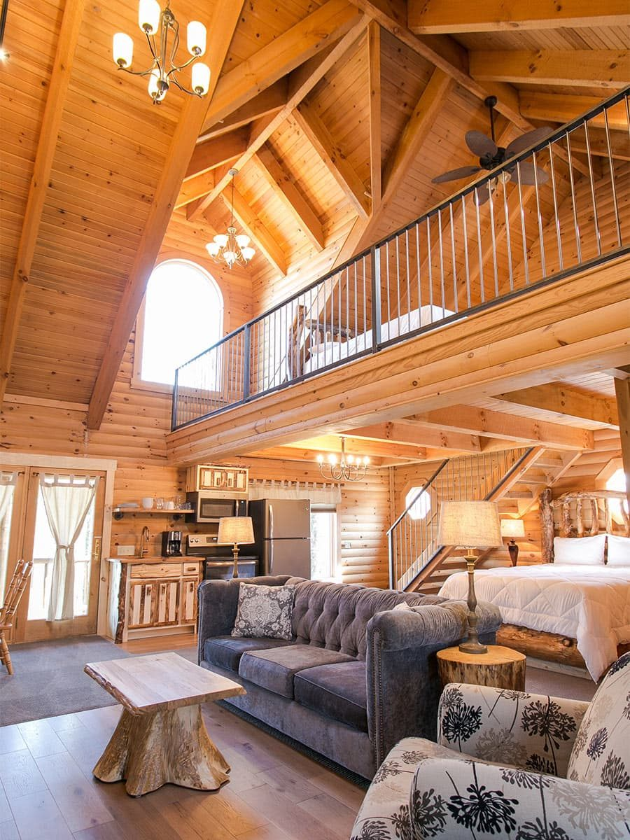 Main floor with loft above and vaulted ceilings