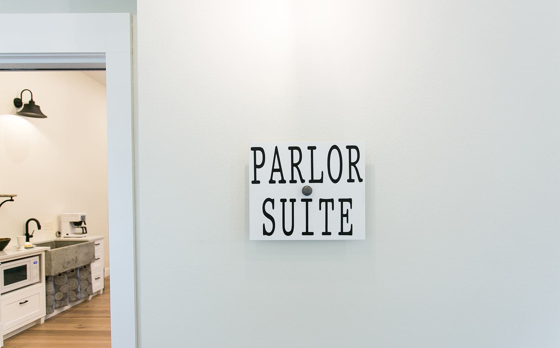 Sign that says Parlor Suite