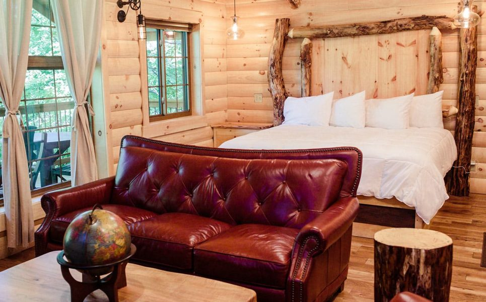 Bed and Red Couch in Tree House #4