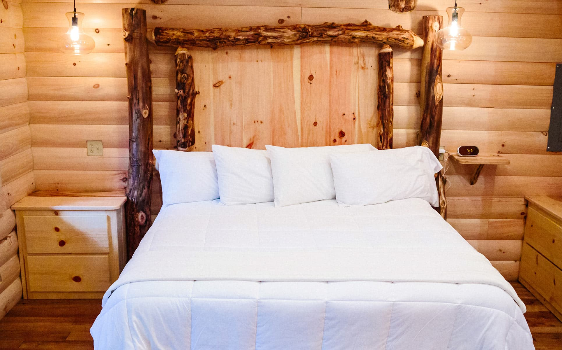 King Bed with wooden headboard
