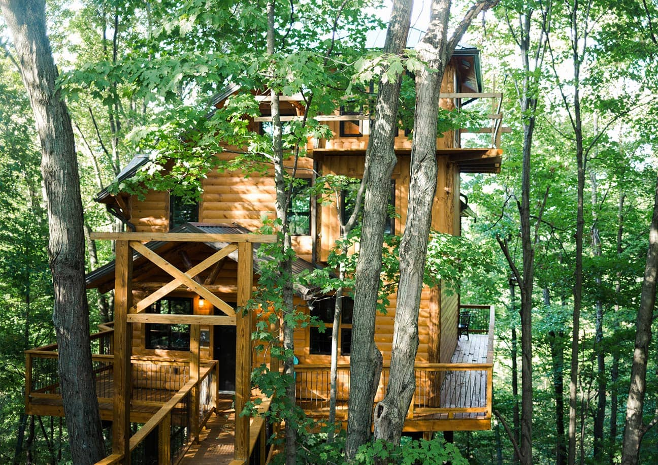 Exterior of three story Treehouse