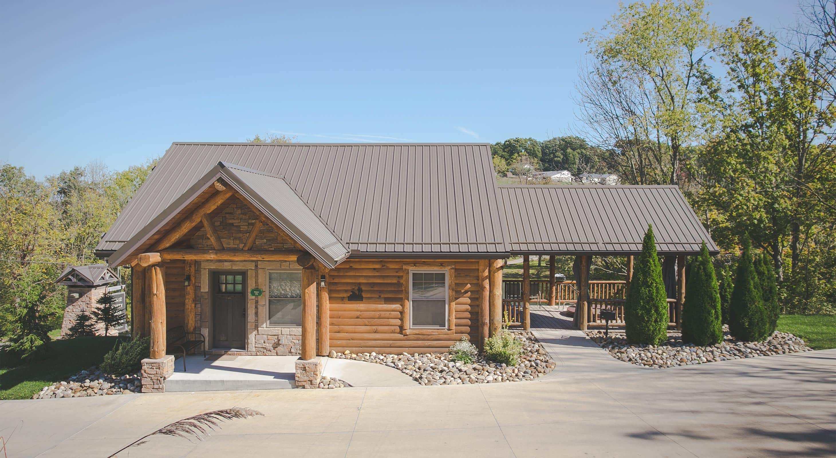Exterior of Water Lily Log Cabin