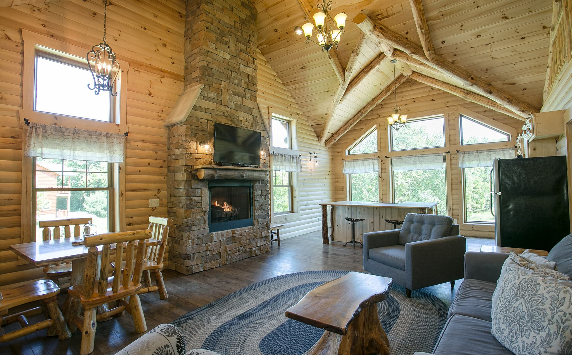 Living Room area with stone fireplace