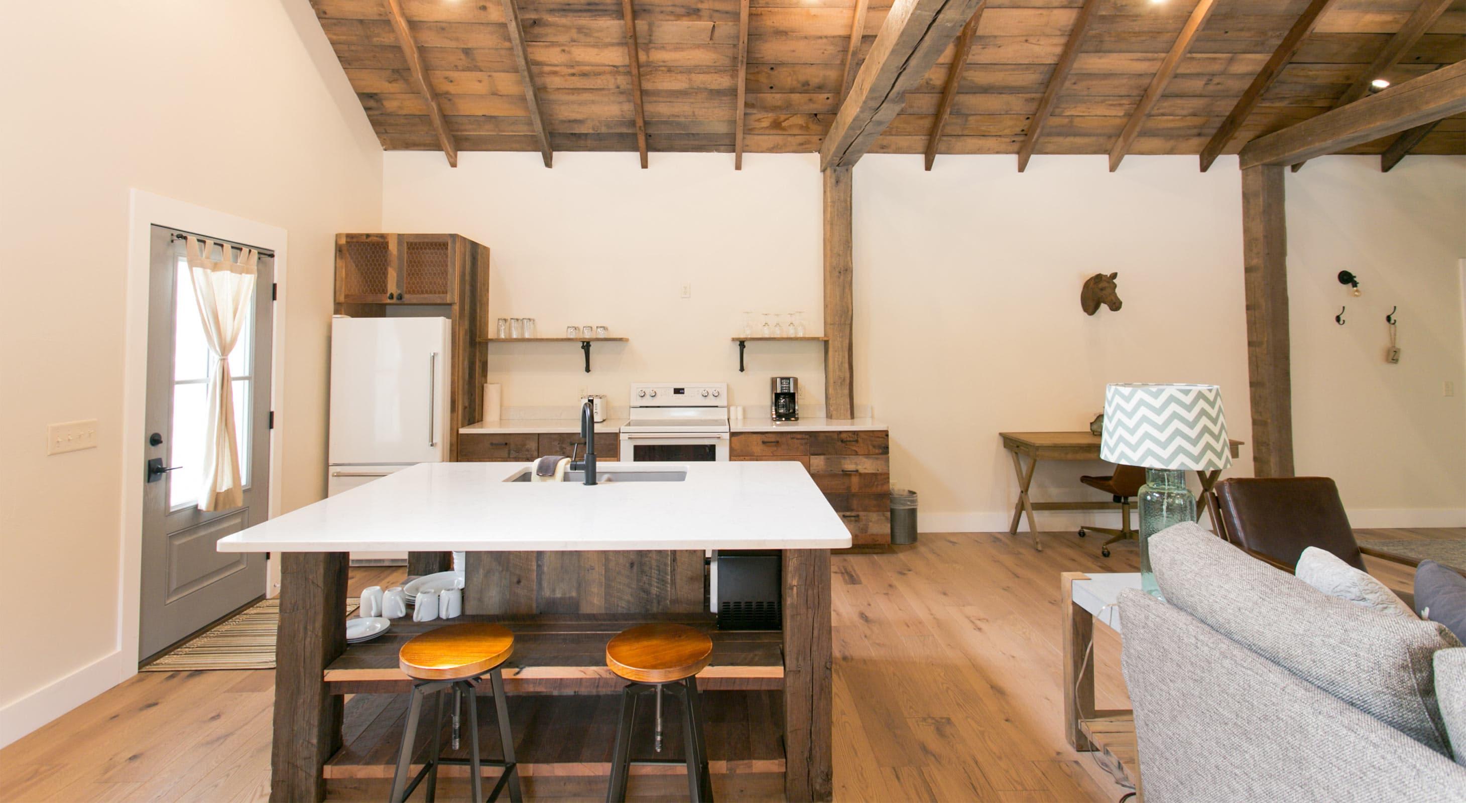 Kitchen island in Barn Suite