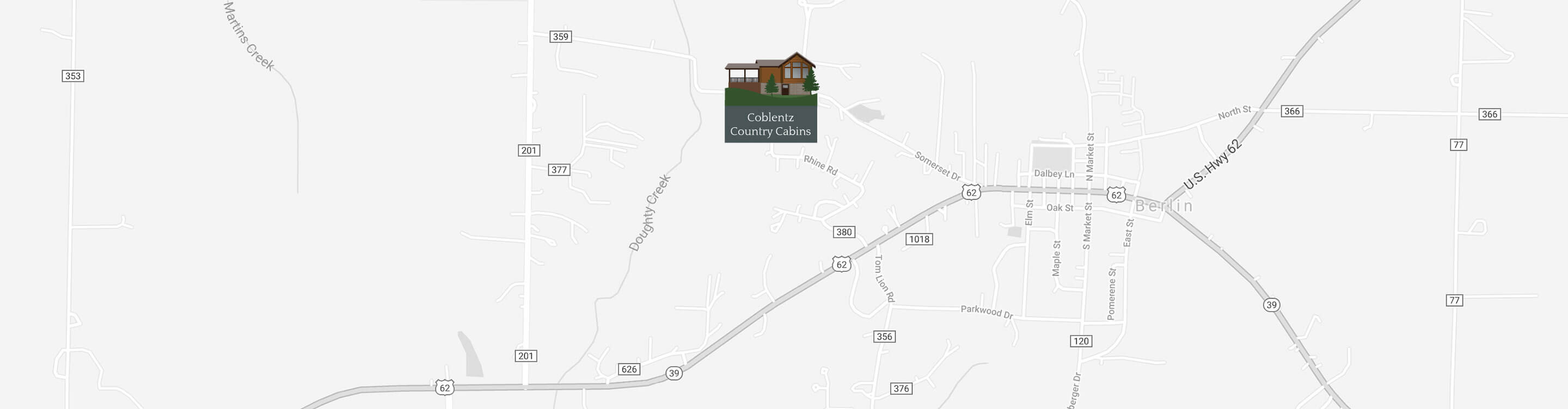 Map of Coblentz Country Cabins