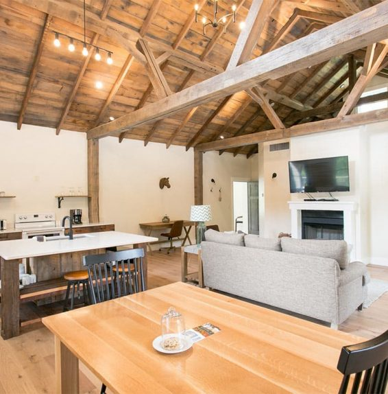 Interior of Barn Suite with Full Kitchen and Living Room