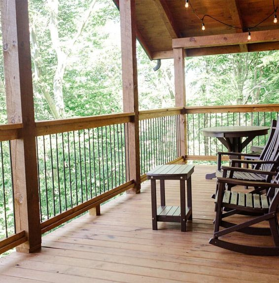Deck with rocking chairs and table