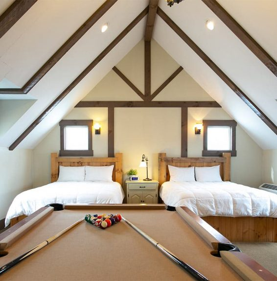 Two Beds with a pool table